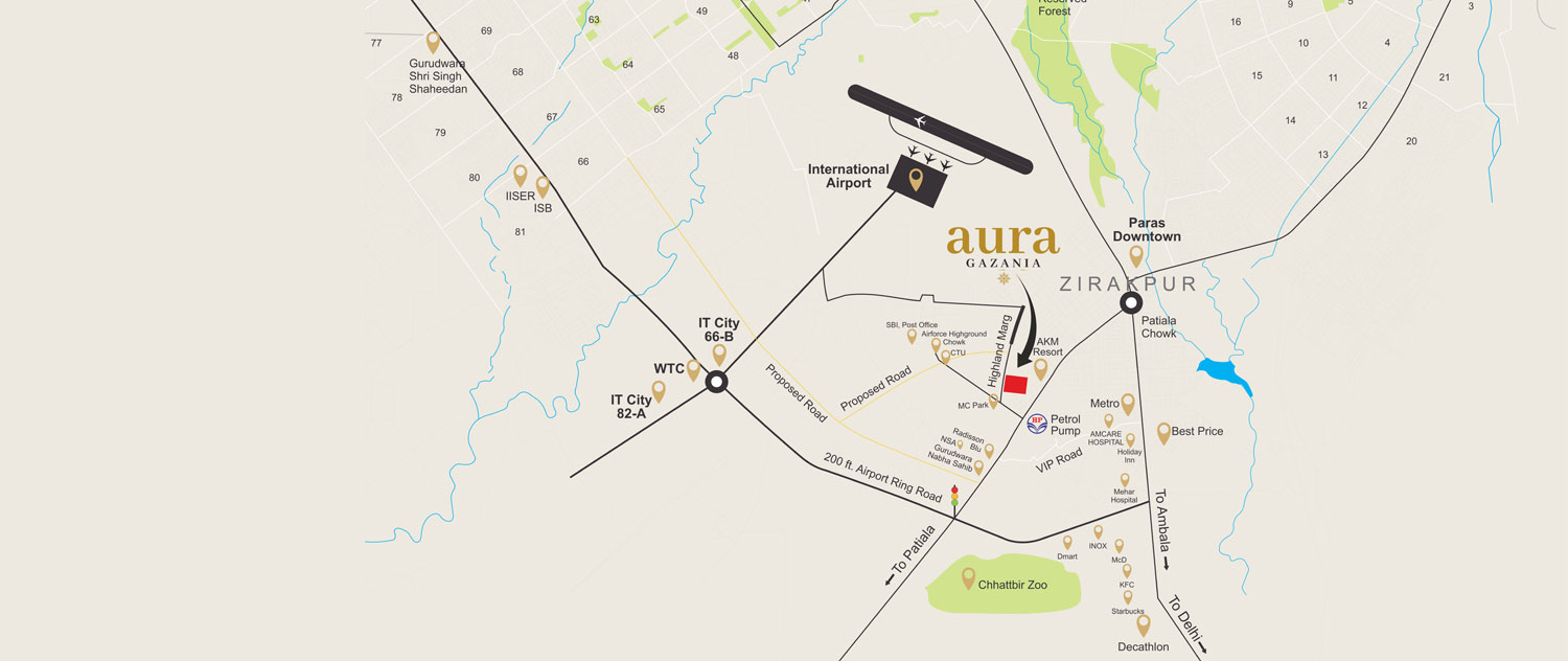 Aura Gazania Location Map   Tricity Property Searches