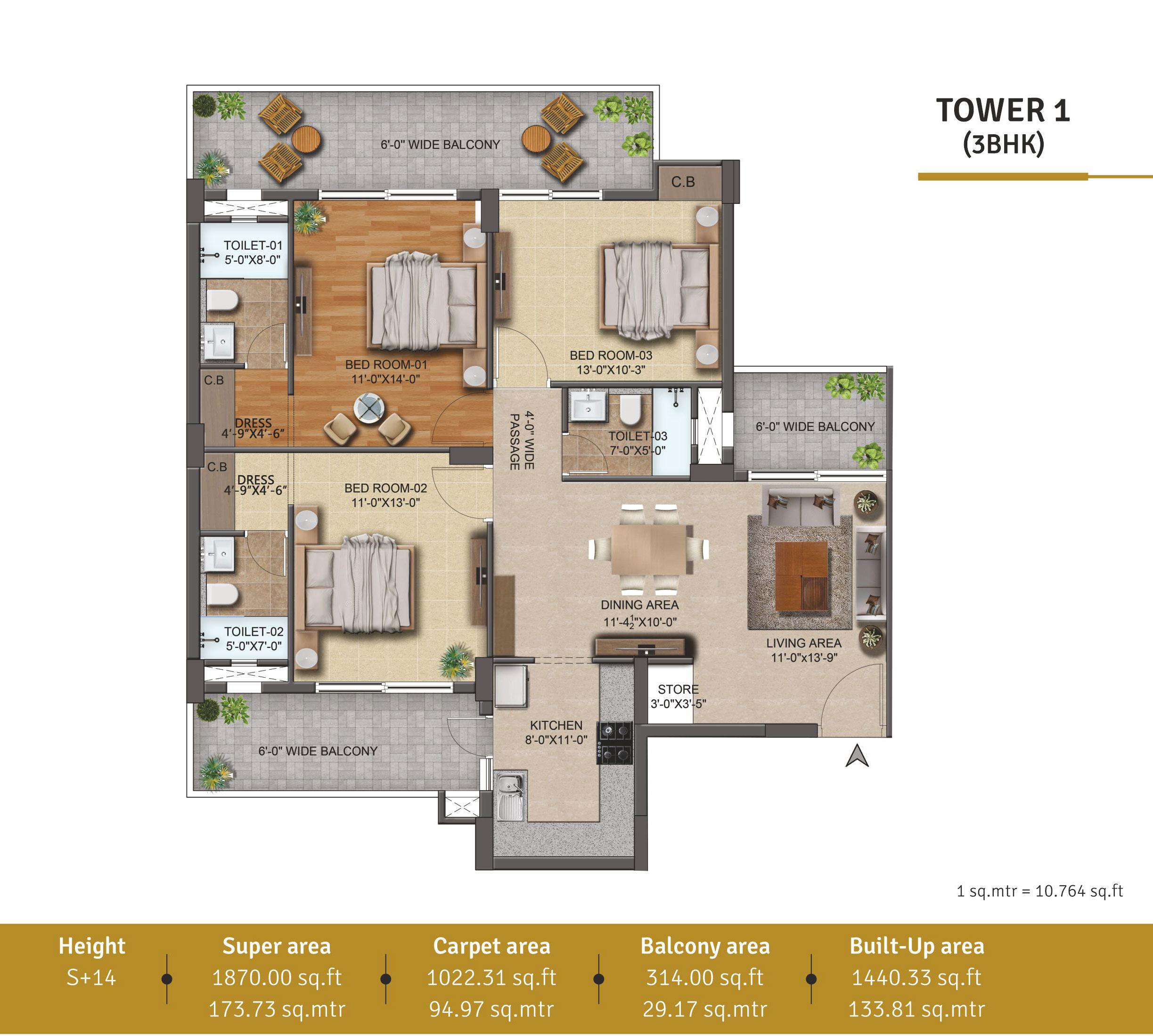 Aura Gazania Zirakpur Floor Plan