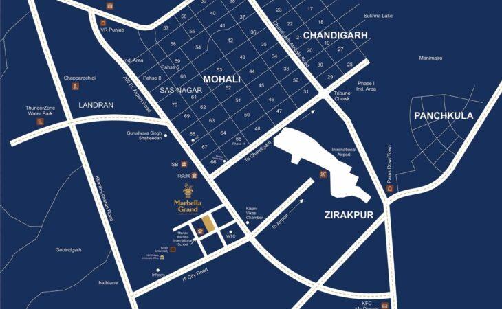 Marbella Grand Mohali Location Map