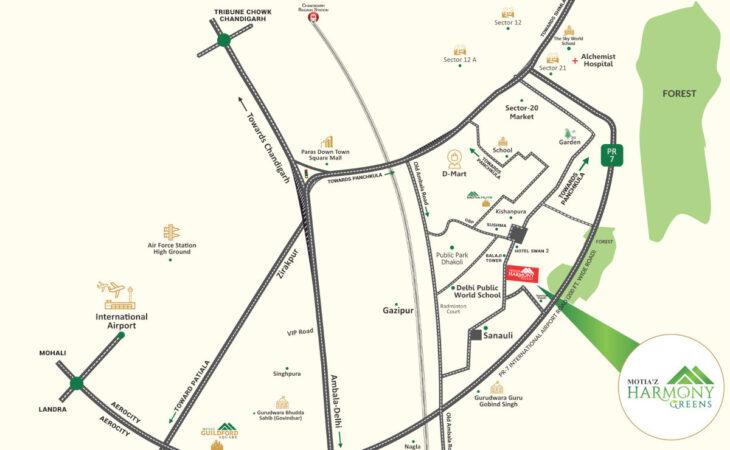 Motia'z Harmony Greens Location Map