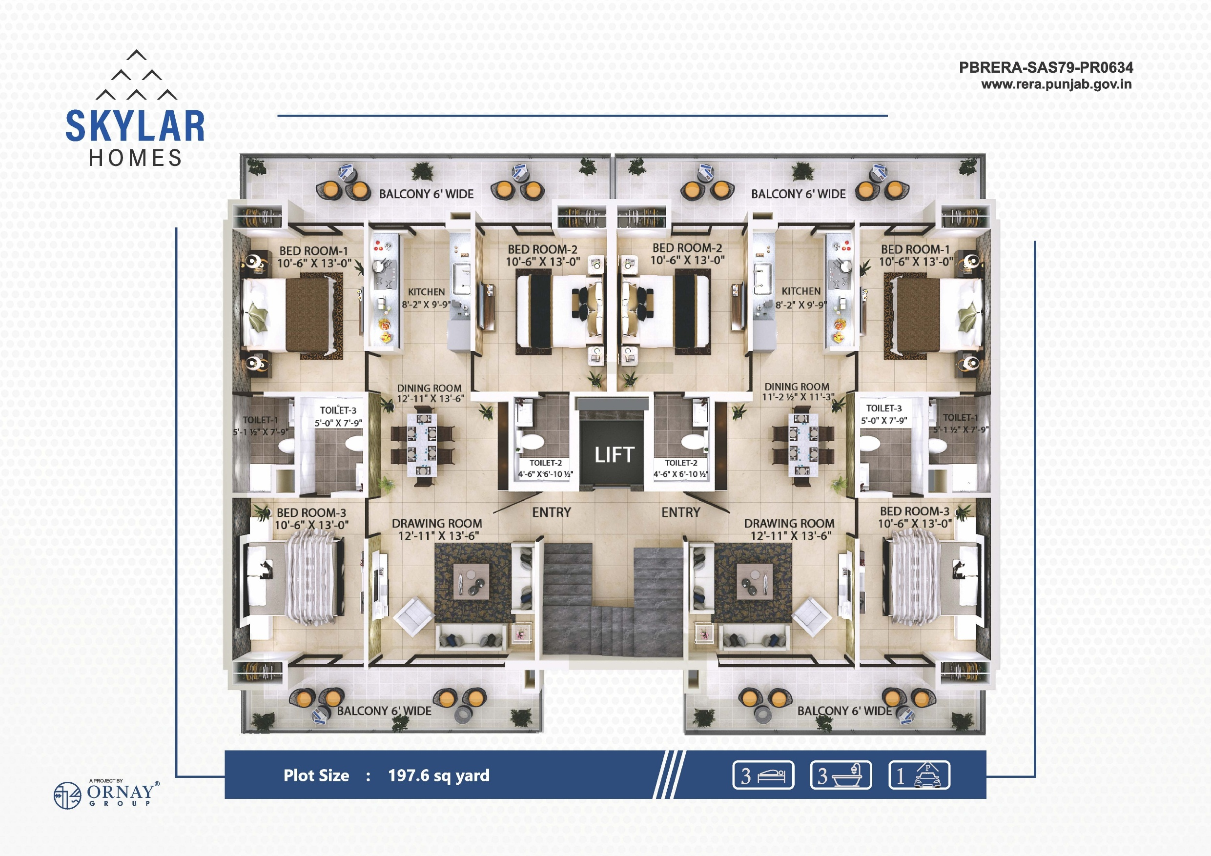 Skylar Homes Zirakpur Floor Plan