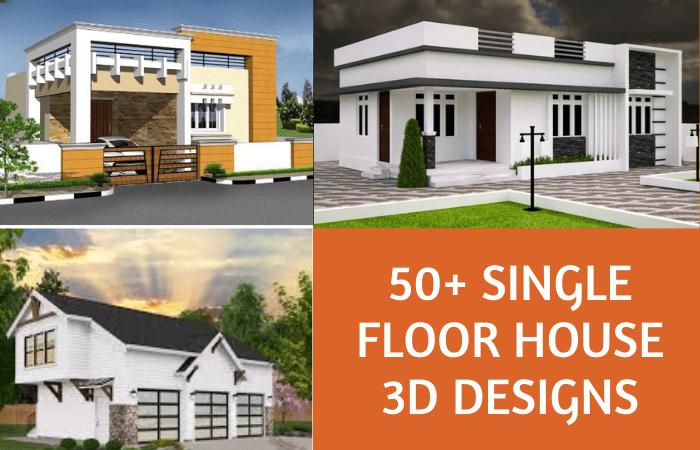 50+ Single Floor House Front Design 3D Images