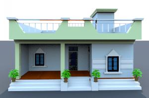 village house front design